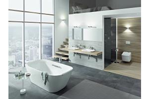 """Das Bild zeigt ein Badezimmer, das mit der """"Neorest""""-Serie von TOTO ausgestattet ist."""