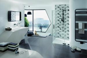 """Das Bild zeigt ein Badezimmer, das mit den """"Organic Sense""""-Fliesen von Steuler ausgestattet ist."""