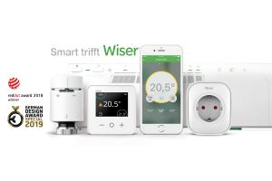"""Die Komponenten des Smart Heating System """"Wiser"""" von Eberle Controls."""