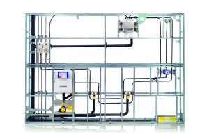 Das Bild zeigt die Geberit-Hygienespülung, integriert in eine Vorwandkonstruktion.