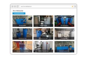 Screenshot einer Website mit verschiedenen Heizungsanlagen.