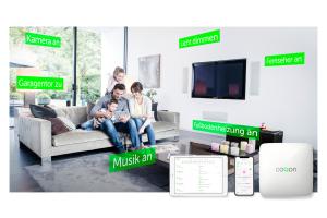 Eine Familie sitzt auf der Couch in einem Wohnzimmer, darum herum erklären Texte, was das Smart Home System von Coqon leisten kann.