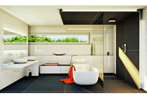 Das Bild zeigt ein geplantes Badezimmer.