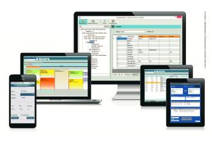 Das Bild zeigt die Syka-Soft-Software an unterschiedlichen Geräten.