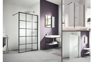 """Drei Beispiele für die Dusche """"WALK-IN XD"""" in einem Badezimmer."""