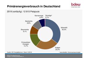 Der Primärenergieverbrauch in Deutschland betrug nach vorläufigen Berechnungen der AG Energiebilanzen 12.815 Petajoule. Dieser wird zu 60 Prozent von den Energieträgern Mineralöl und Erdgas gedeckt.