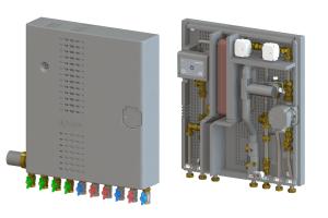 Das EPP-Gehäuse sorgt für eine thermische Trennung innerhalb der Wohnungsstation und hält zudem den Schalldruckpegel unter 27 dB(A). Durch die kompakte Bauform der Wohnungsstation mit 63 cm Höhe und 56 cm Breite bei nur 14 cm Tiefe (15 cm im UP-Schrank) ist die Installation selbst in knapp bemessenen Bädern oder im Flur einfach möglich.