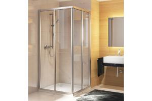 """Das Bild zeigt einen Auschnitt eines Bades, in dessen linker Ecke sich die gerahmte Duschkabine """"Optima 5"""" von Duscholux befindet."""