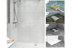 """Einfacher Einstieg in die Dusche mit der Installationsbox """"75"""" von repaBad."""