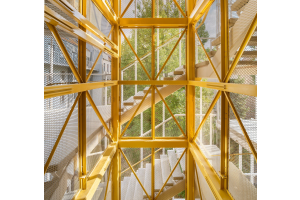 Der Fahrstuhl ist mit einer Streckmetallverkleidung versehen und leuchtend goldgelb lackiert.