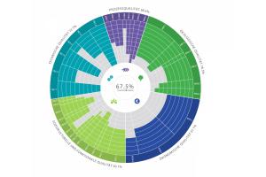 Kreisdiagramm mit den vielfältigen Kriterien des DGNB-Systems