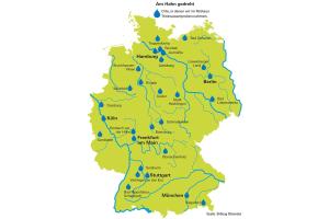 Karte mit den von der Stiftung Warentest untersuchten Orten.