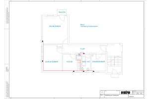 Grundriss der Fußbodenheizung mit Wohnungsverteilung an der Außenwand (Abb.1).