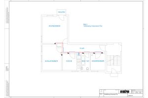 Grundriss einer Fußbodenheizung mit Wohnungsverteilung an der Innenwand (Abb. 2).