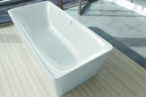"""Das Bild zeigt das weiße, rechteckige Badewannen-Modell """"Incava"""" von Kaldewei."""