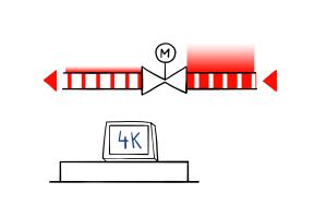 Schematische Darstellung der Einrohrheizung mit reduziertem Volumenstrom.
