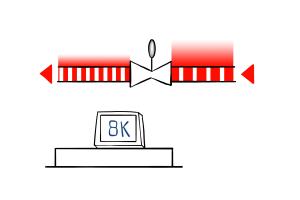 Schematische Darstellung eines Einrohrheizungssystem mit Referenzwert 8 K.