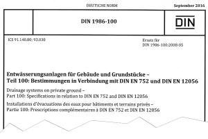 Kopfzeile der DIN 1986-100, Ausgabe September 2016.