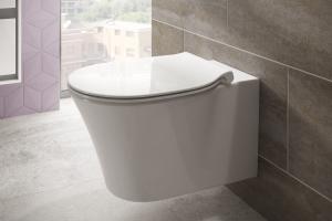 """Das Bild zeigt das wandhängende, weiße WC aus der """"Connect Air""""-Serie mit der Spültechnologie von Ideal Standard vor einer grau gefliesten Wand."""